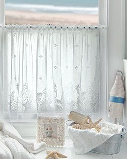 Coral And Aqua Curtain Panels