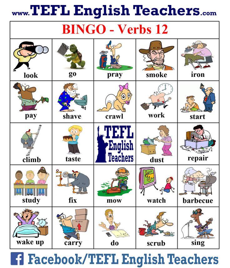 TEFL English Teachers Bingo Verbs game board 12 of 20