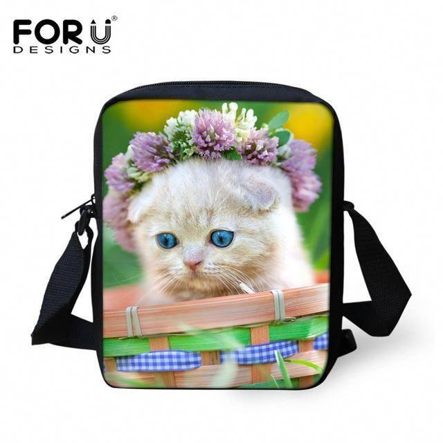 Cats /& Flowers Mini Messenger Purse