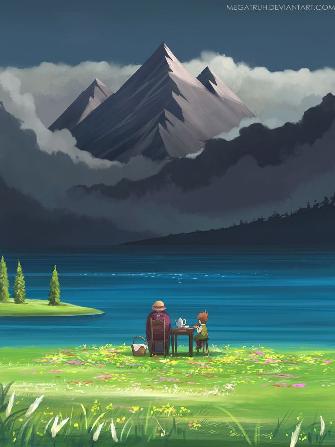 """Sophie and Markl at Star lake by Niken Anindita (megatruh, Indonesia) """"i finally redraw that scene where they gazed upon the blackest skies ;) (Wink) prints available on society6. *drawn on SAI"""" {digital, 2015} Howl's Moving Castle fanart"""