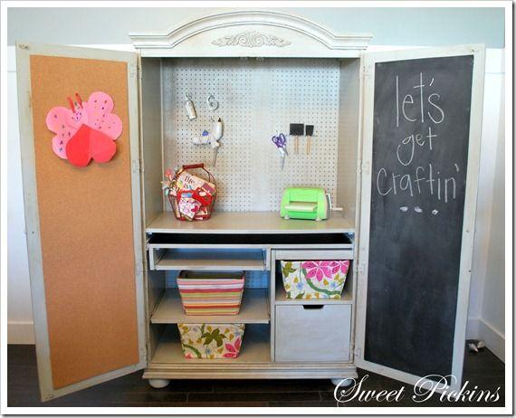 An armoire made into a craft hutch....cute idea