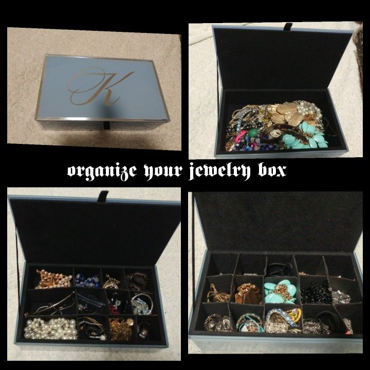 Organize your jewelry box with easy made dividers. I used the same kind of template that is used for a sock drawer organizer. I juat made it smaller to fit into my jewelry box. Here is the link . http://afewthingsthatcaughtmyeye.blogspot.ca