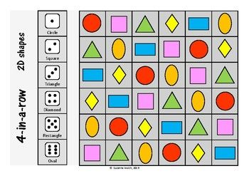 Shape Games - 2D, 3D and regular polygons.  4-in-a-row dice game.
