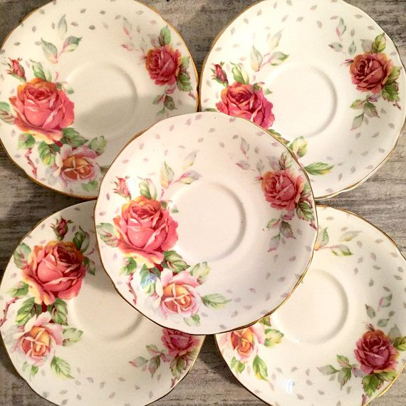 Vintage Paragon Golden Emblem Saucers Plates Pink and Peach #love #shabbychic #pinkroses #Paragon #VintageParagon #ParagonSaucers #BoneChinaLot #Setof5