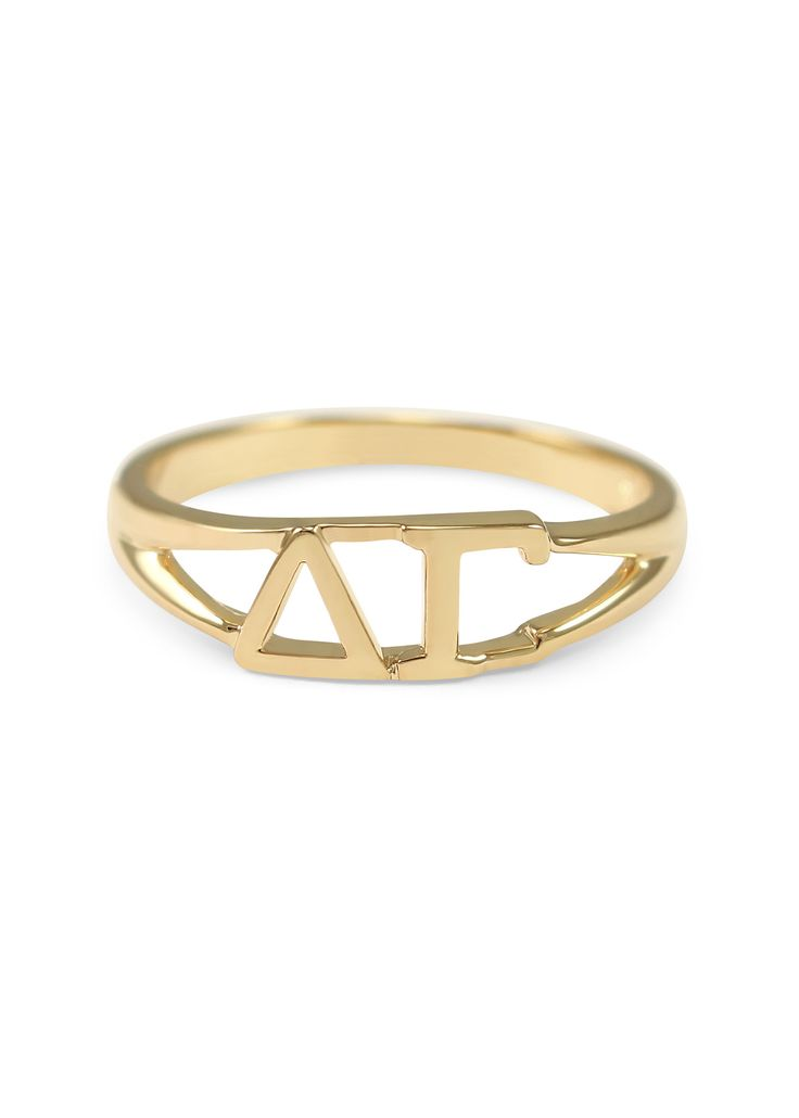 A gorgeous limited edition sunshine gold Delta Gamma (ΔΓ) ring made exclusively by us! The ring is solid brass with 14k gold plated finishing. The perfect gift for your big/little or even yourself! Pl