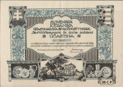 A1627 Muzeum cennych papiru Slovenská keramika účastinárska spoločnosť v Modre 1920