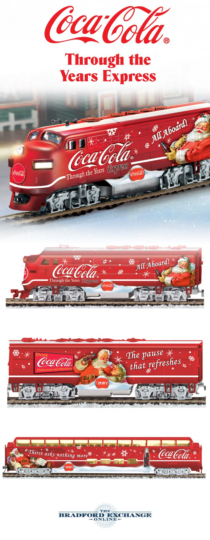 It's never too early to take a refreshing ride with this COCA-COLA train collection. All aboard for a great Christmas in July!