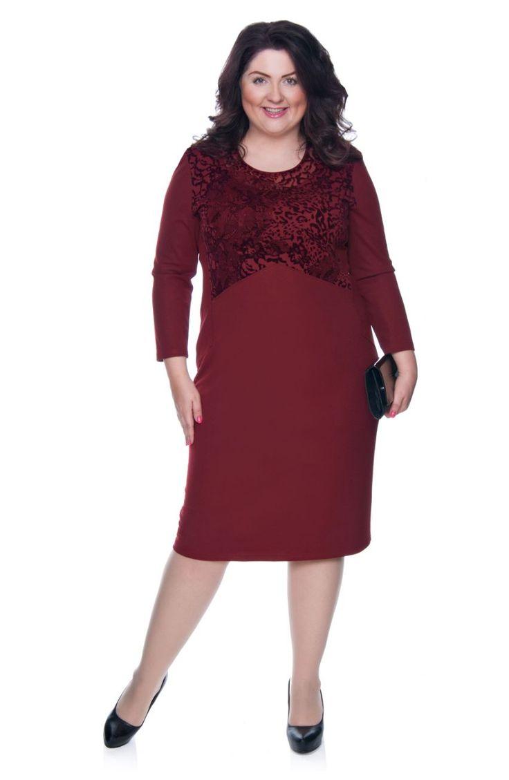 Bordowa sukienka ozdobiona welurem - Modne Duże Rozmiary