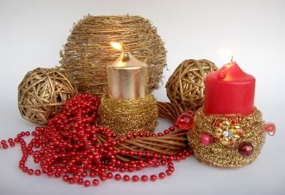 DIY: Christmas candles to decorate your home with...kitchen scourer ~ PerlillaPets