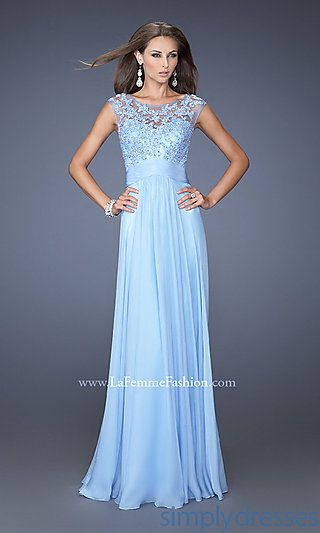 Long Blue High Neck Gown by La Femme at SimplyDresses.com