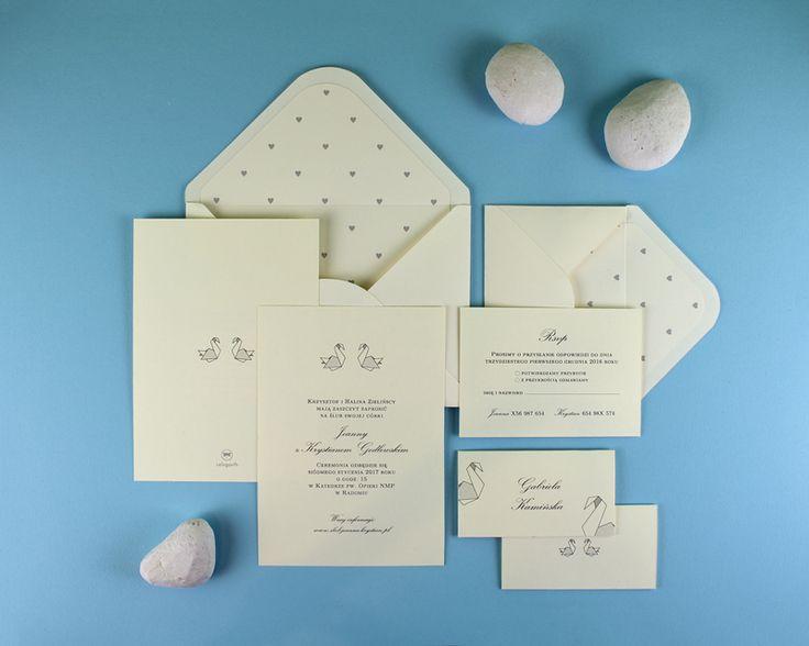 Pracownia Celegarth   Minimalizm   Twin Swans   #zaproszenia #eleganckie #invitations #zaproszeniaslubne #weddinginvitations #minimalizm #minimalism #swans #celegarth #slub #wedding #papeteria #stationery #papeteriaslubna #weddingstationery #design #slubnydesign #weddingdesign