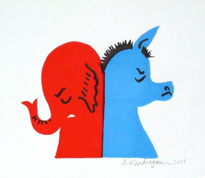 donkey and elephant BLOCK PRINT.