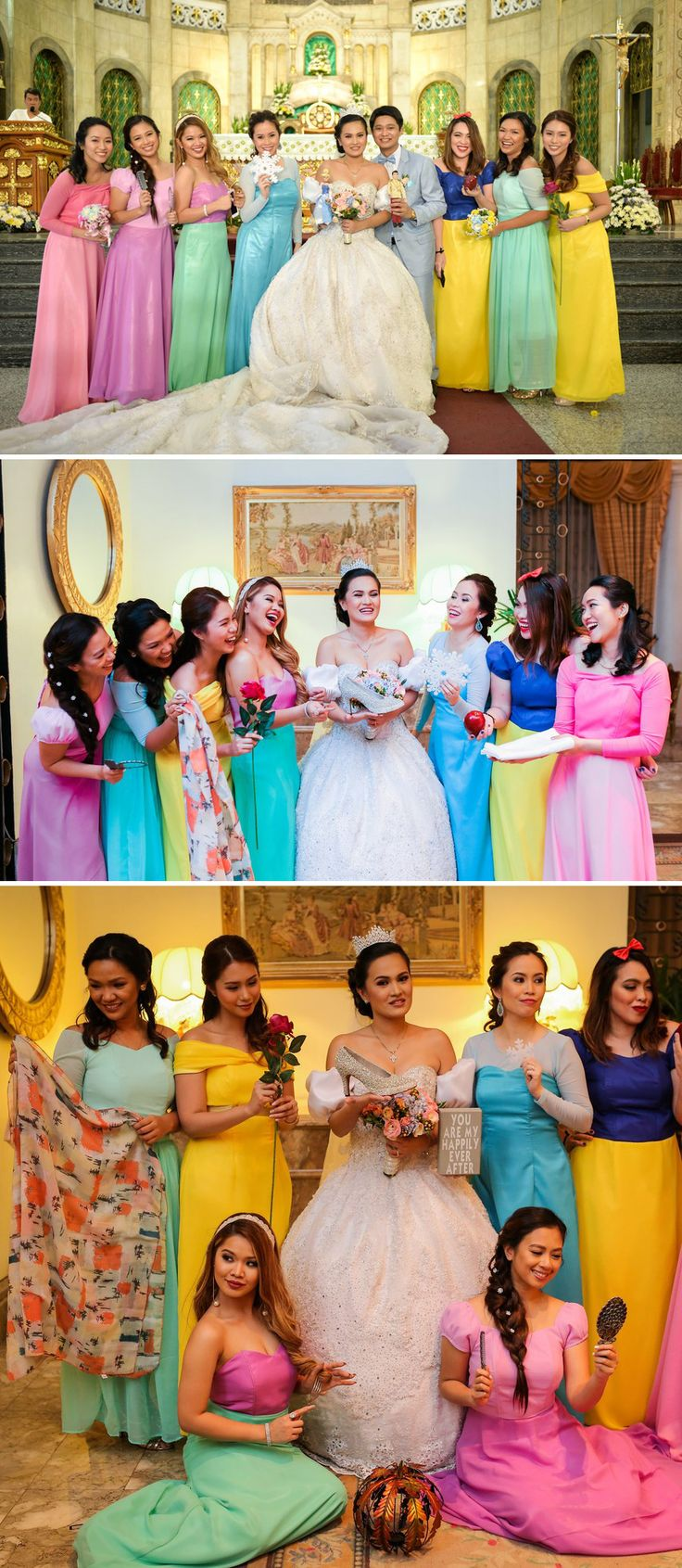 "Disney Princess #girlsquad #goals! ❤️ ❤️ ❤️ You just saw Janna Robles Santos and Nikko's incredible ""A Whole New World"" #wedding duet and as promised, here are the photos from their fairytale themed celebration. Because Janna and her husband run bridal shoe business Sophisticat Shoes, she chose to wear a #Cinderella-inspired #weddinggown - but it didn't end there. The princess #bride had her #bridesmaids in tow, each one also dressed as a different #Disney princess!"