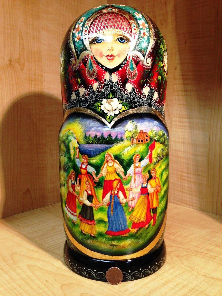 "Russian Country Scenes by Stepkaeva Russian Matryoshka Nesting Doll 12 3 4"" 15pc | eBay"