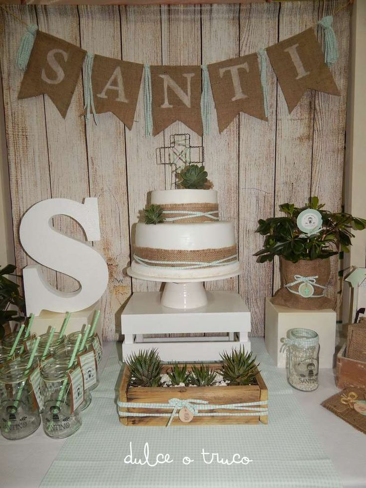 This Rustic Communion Celebration is so beautiful! See more party ideas and share yours at CatchMyParty.com