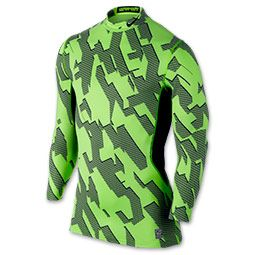 Men's Nike Pro Combat Hyperwarm Compression Chainmaille Shirt  | FinishLine.com | Volt/Black