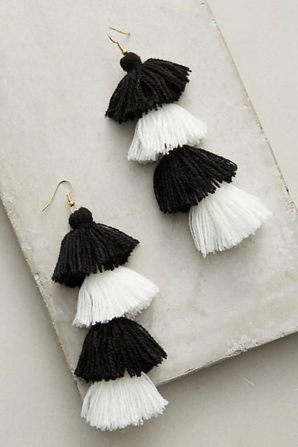 Misa Berry Ombre Drop Earrings; black and white fringe drop earrings!