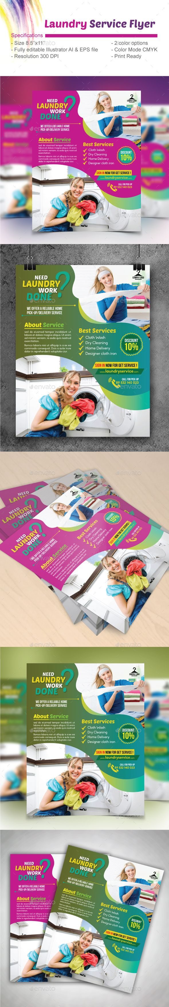 """Laundry Service Flyer by design_station Laundry Service Flyer (Editable) Specifications: - Size: 8.5""""x11�20- Bleed: .125\""""- Two color variations (Magenta & Green) - Full"""