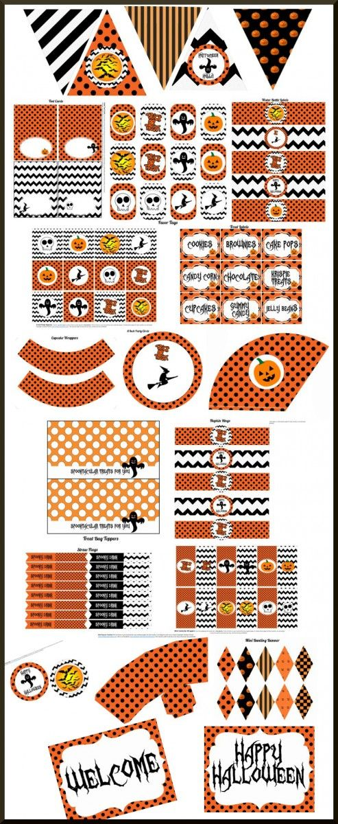 This free printable party set for Halloween has it all! The collection includes: two welcome signs, treat labels, banner, mini candy bar wrappers, favor tags, cupcake wrappers, candy bar wrappers, treat toppers, tented cards, straw flags, napkin rings, popcorn box, party circles, party squares, and water bottle labels.