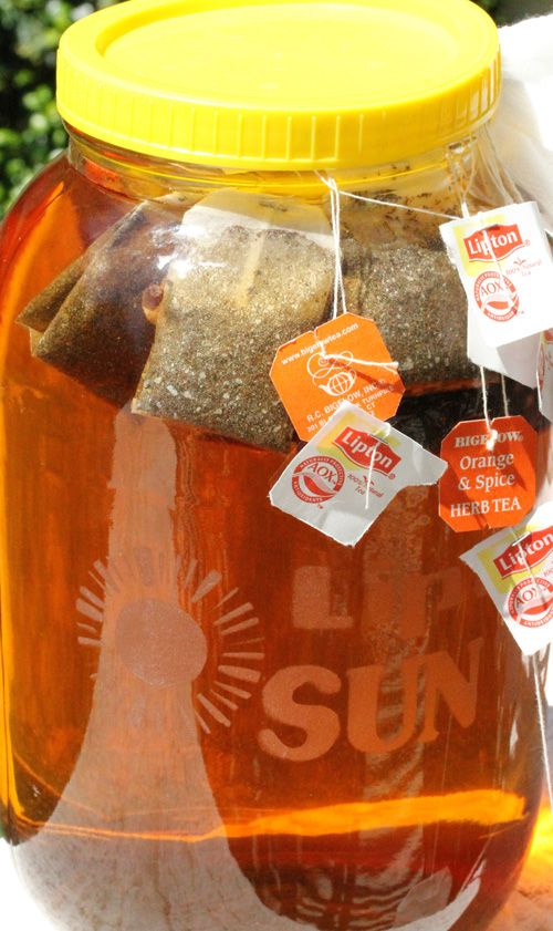 Mom always had sun tea brewing on our back patio.  She always made both sweet and unsweetened.