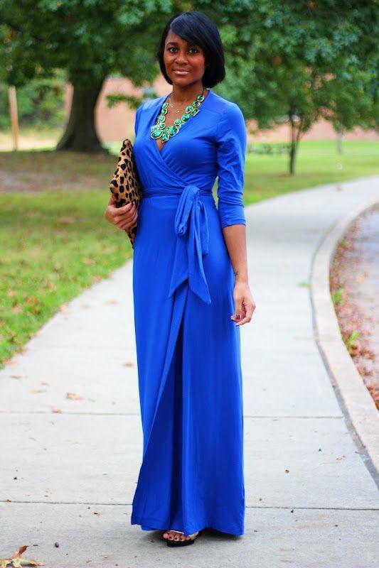 Royal Blue Maxi Dress, just add pearls!