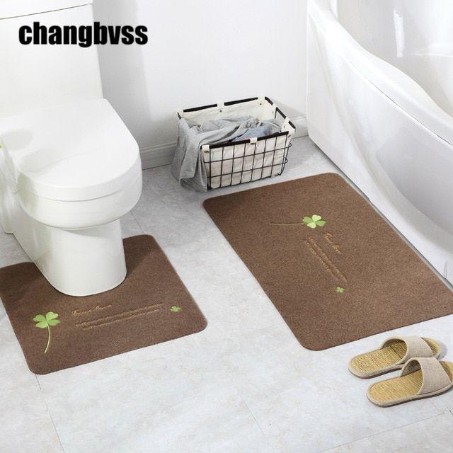 2pcs Set Cheap Elegant Flower Printing Bath Mat U Shaped And