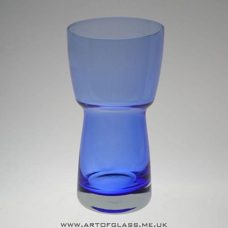 Riihimaki blue glass vase