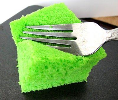 Pandan Cake - Asian cake. Butterless, but like a chiffon cake. Moist and sweet.