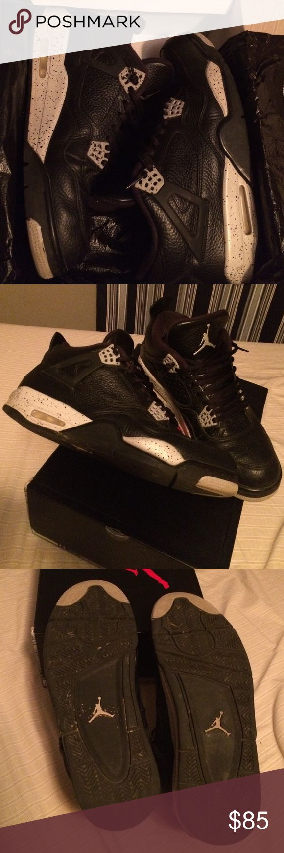 Jordan retro 4 Oreo Size 11.5 from 2014. Pretty good condition! Light creasing on toe box, some star loss on the soles. 8/10. Replacement box. Offer or trades accepted. NO LOWBALLS Jordan Shoes Sneakers
