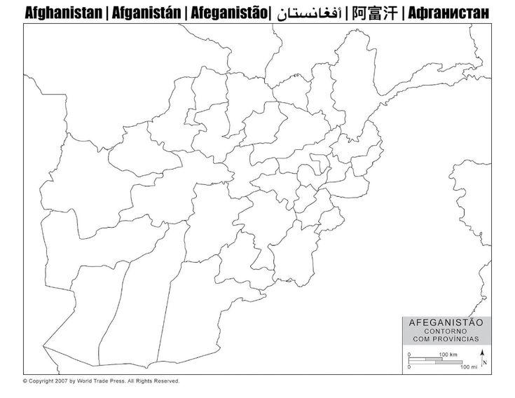 Mapa do Afeganistão com Contorno das Províncias