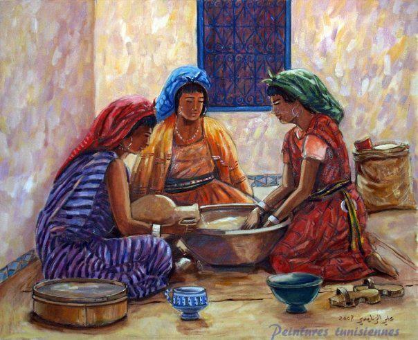 Ali znaidi peintres tunisiens pinterest painting for Egyptian fresco mural painting