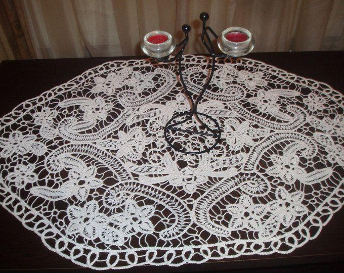 Encaje de punto rumano, tapetito hecho a mano del ganchillo, mantel ovalado, blanco, patrón Floral, ganchillo, regalo de la boda, decoración casera