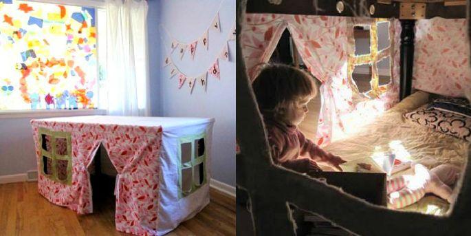 """telas por encima de la mesa dejando una abertura para la puerta. Opcionalmente, añade unas ventanitas y un colchón en el interior. Tendrán un lugar secreto de """"quita y pón"""" para leer y jugar y tú podrás recogerlo cuando necesites la mesa.  ,,"""