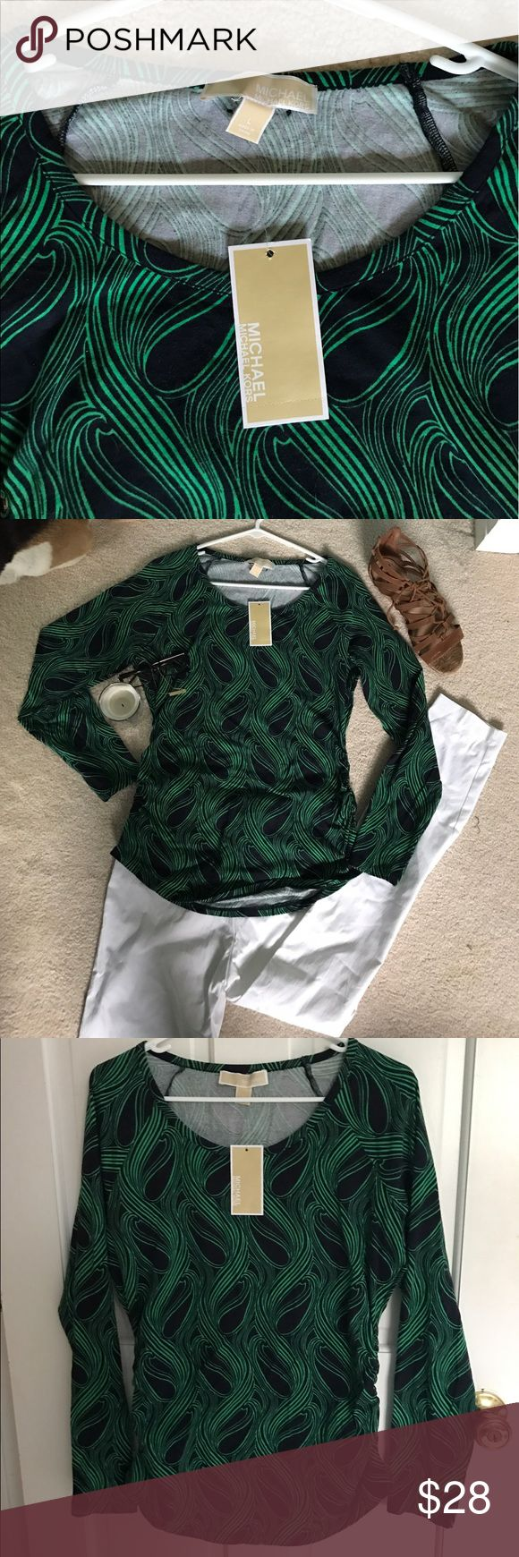 Michael Kors Long Sleeve Michael Kors Long Sleeve Top, beautiful swirl pattern, light weight top, brand new, looks great with white pants/ shorts MICHAEL Michael Kors Tops Tees - Long Sleeve