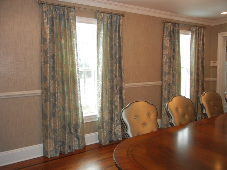 Gorgeous Dining Room Curtains Silver Blue With Cream Toned Embroidery Fabric By Maxwell Telafina