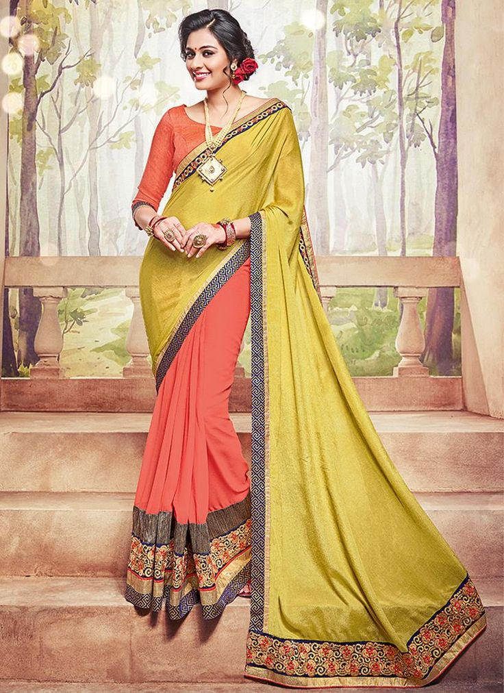 Stunning indian designer ethnic traditional saree. Shop this prodigious embroidered and patch border work traditional  saree for festival and party.