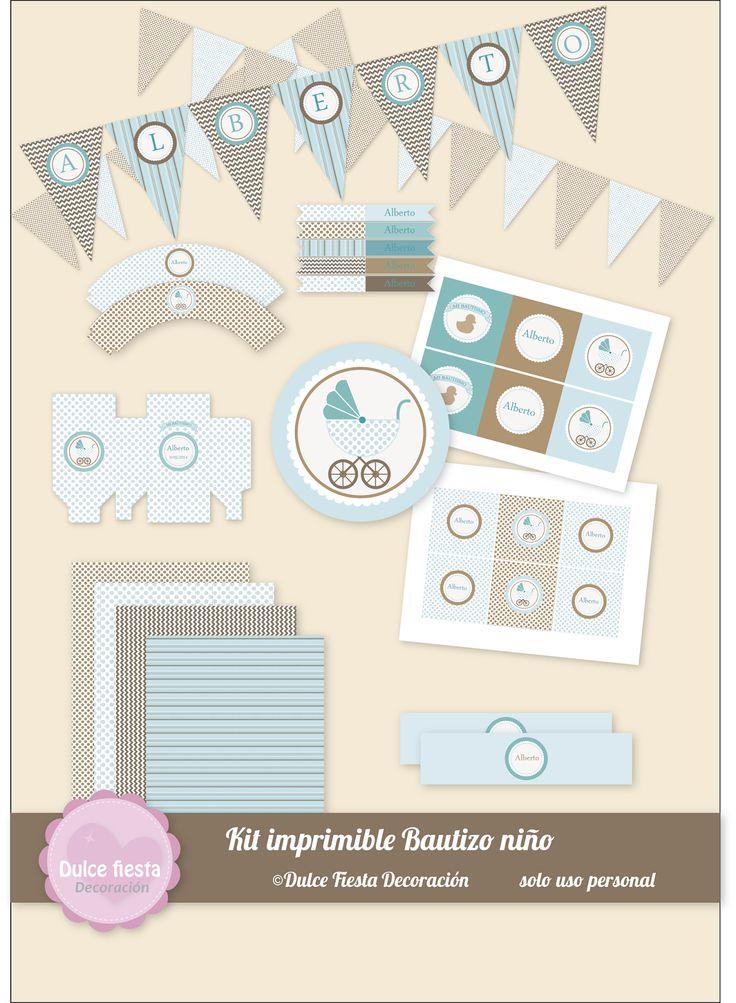 Kit imprimible bautizo niño #fiestasinfantiles