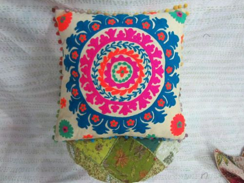 Suzani-Embroidery-cushion-cover-Home-Decor-Indian-16x16-Pillow-case-S-173
