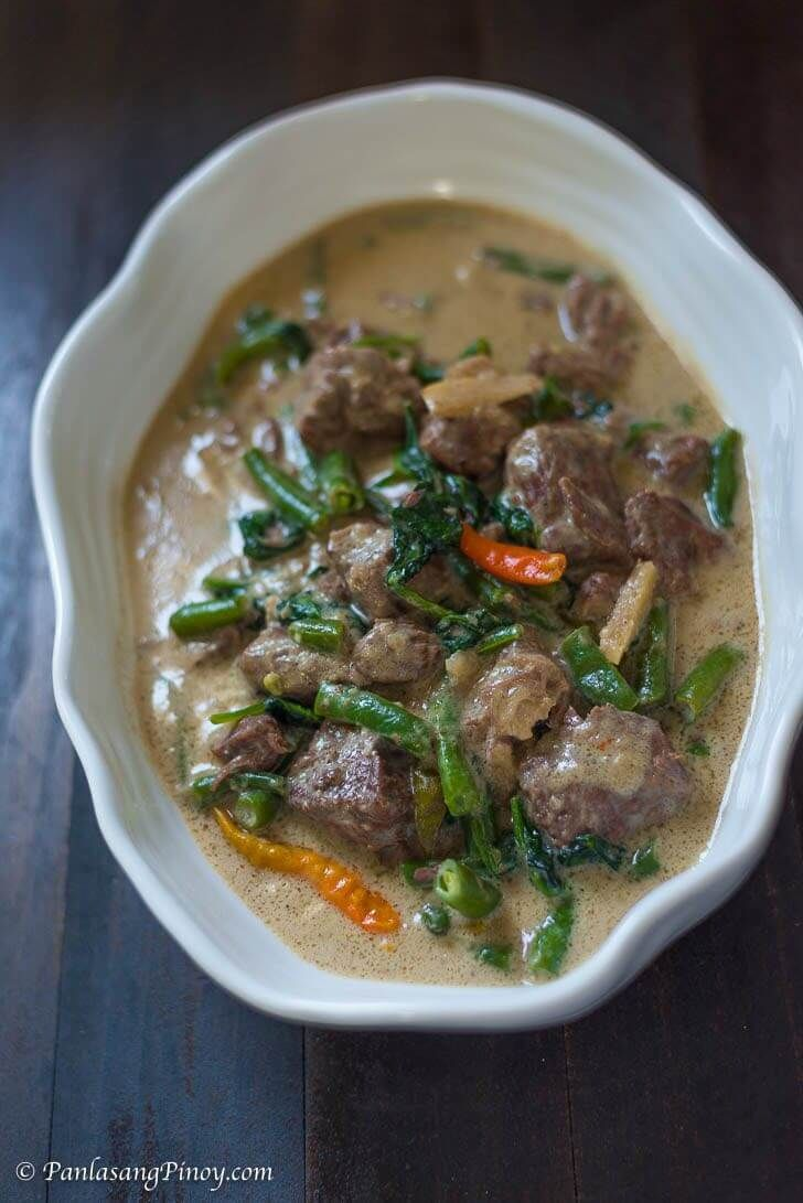 Ginataang Baka Beef In Coconut Milk With Green Beans And Spinach Panlasang Pinoy Recipe Beef Recipes Recipes Spinach Recipes