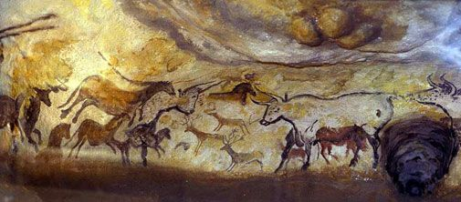 This scene was painted in natural pigments on the wall of a cave in Lascaux, France. The painting is dated between 12,000 and 17,000 BP.