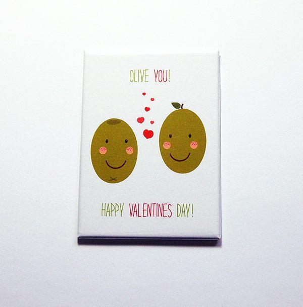 Valentine magnet, Olive You magnet, Kitchen magnet, Fridge magnet, Large Magnet, ACEO, Valentine Card, Valentines Day, Olives (7130) by KellysMagnets on Etsy