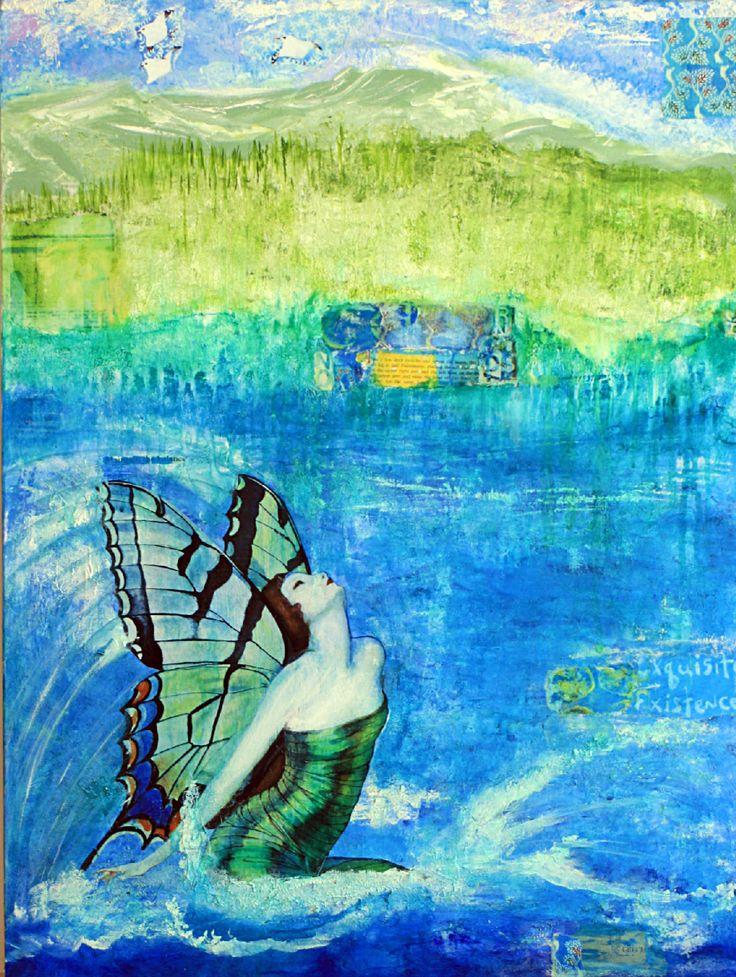 ''...Exquisite existence''  Mixed media, acrylic colors, texture paste and paper    Artist: Ifigenia  #art #Ifigenia #mixedmedia #colors #wallart
