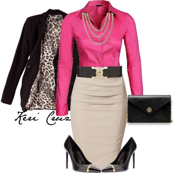 Pretty Pink Shirt and Beige Pencil Skirt. Fabulous!