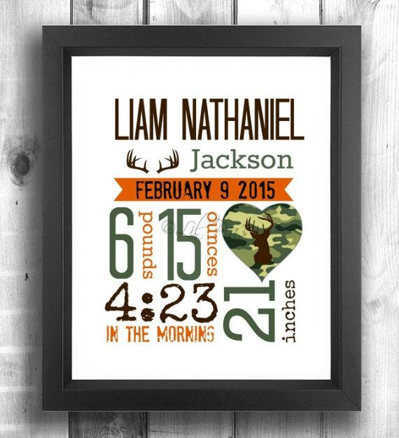 Check out this item in my Etsy shop https://www.etsy.com/ca/listing/246312343/camo-nursery-print-rustic-birth-stats