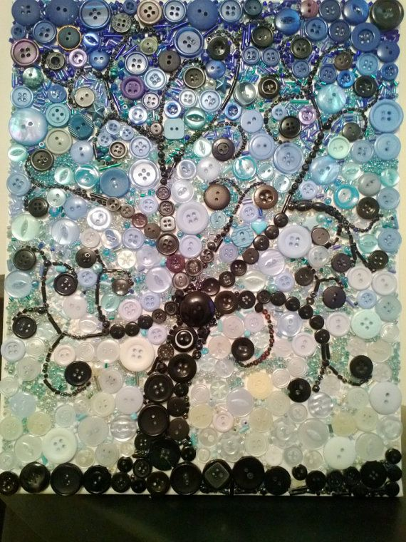 Button and bead mosaic type canvas art, entitled Tree at Dusk, handmade from scrap materials . Slightly wider than A4, exact size is 24cm wide x
