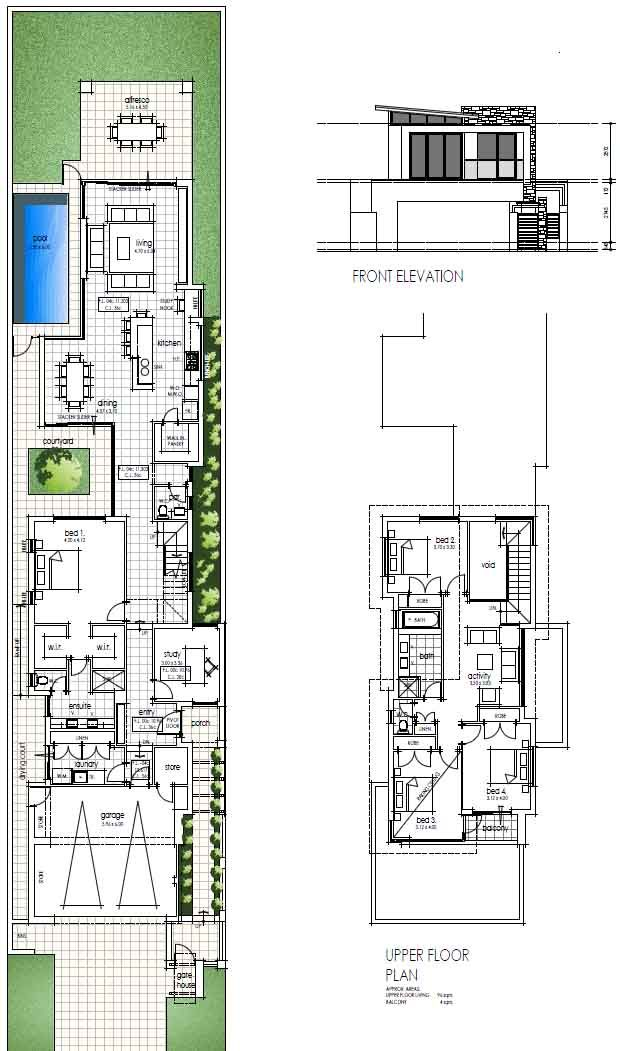 17 best ideas about narrow house plans on pinterest Skinny block house designs