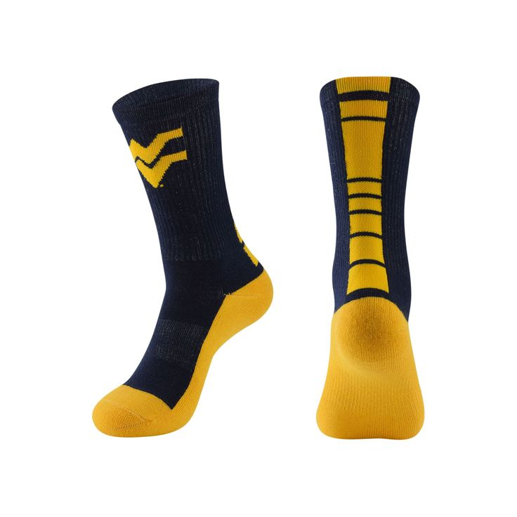 Men's Mojo West Virginia Mountaineers Champ 1/2-Cushion Performance Crew Socks, Size: 10-13, Blue (Navy)