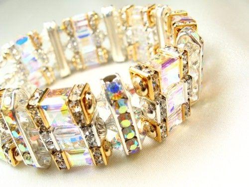 Swarovski Cube Crystal Silver and Gold Bracelet