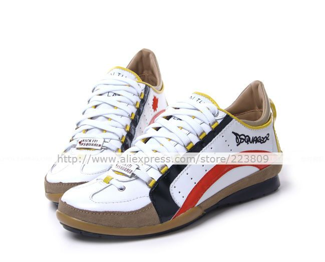 DSQ Spring/Autumn Men's Sneakers d2 Superior Quality Casual Shoes British  Style Genuine Leather Shoes