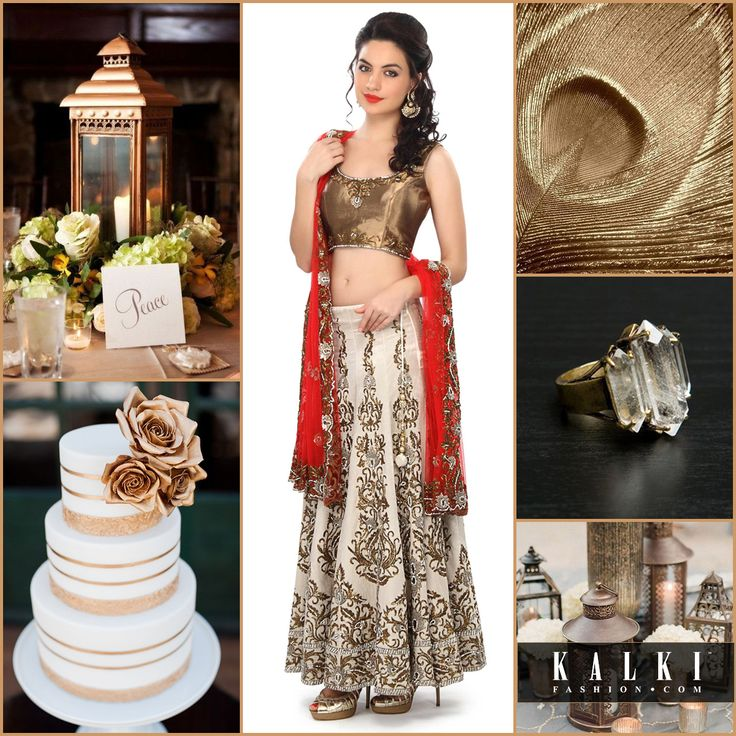 White is simple and chic. Dress in this classic lehenga in white with golden embroidery matched with a red dupatta for your engagement function. Spruce up the ambience with copper classic décor and a white with copper ribbon and flower topping.